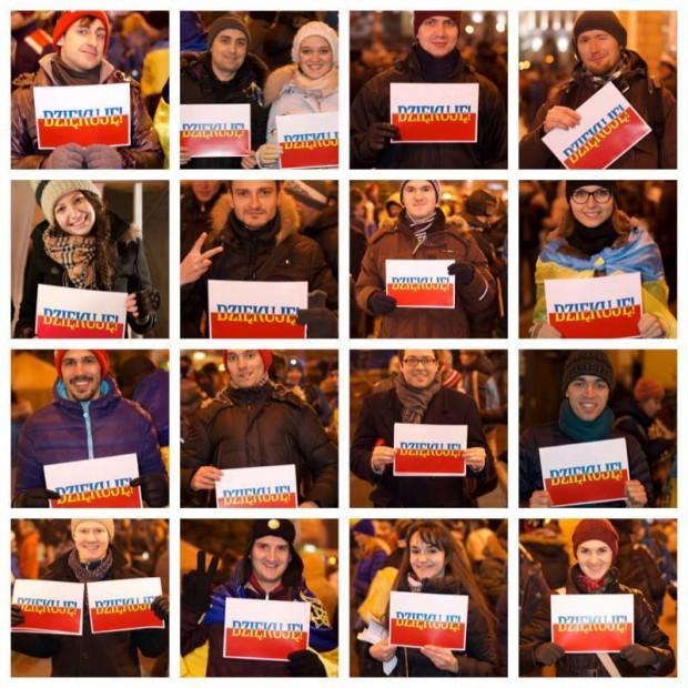 Українці провели флешмоб подяки полякам за підтримку Євромайдану