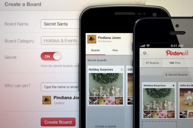 Pinterest запустив Secret Boards