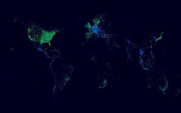 Світова карта чекінів у Facebook: Україна   чорна пляма