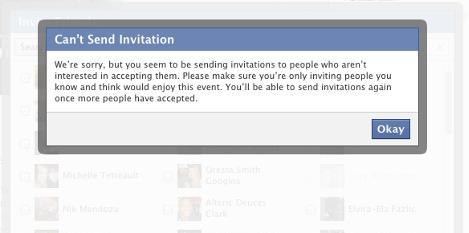 Facebook почав обмежувати запрошення на події