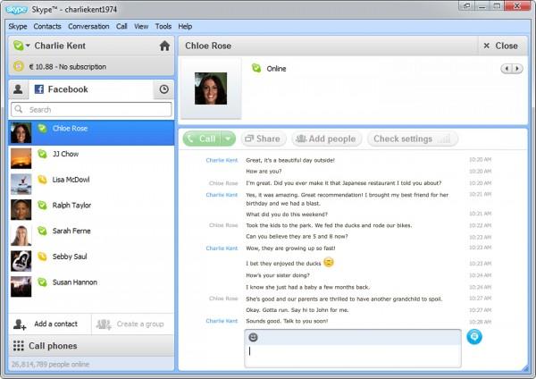 Нова версія Skype отримала інтегрований Facebook чат