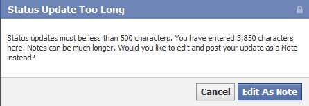 У Facebook збільшилась максимальна величина символів статусу в 10 разів