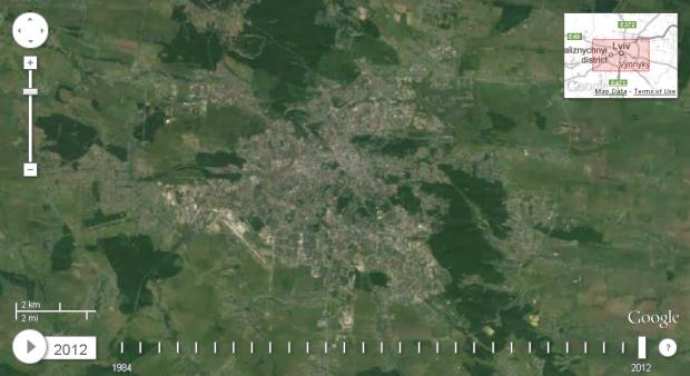 Google показав як змінювався вигляд України з космосу з 1984 по 2012 роки