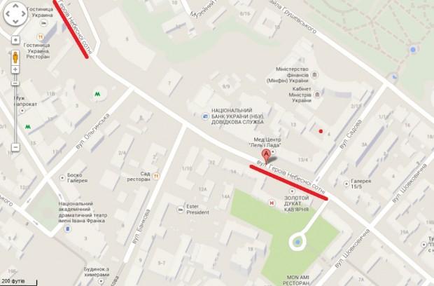 Google вже перейменував вулицю Інститутську на «Героїв Небесної Сотні»