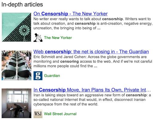 Google включить до основної пошукової видачі блок із поглибленими статтями