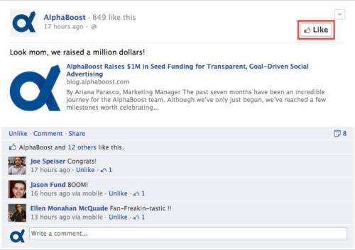 Facebook дозволив лайкати сторінки брендів безпосередньо з їх записів