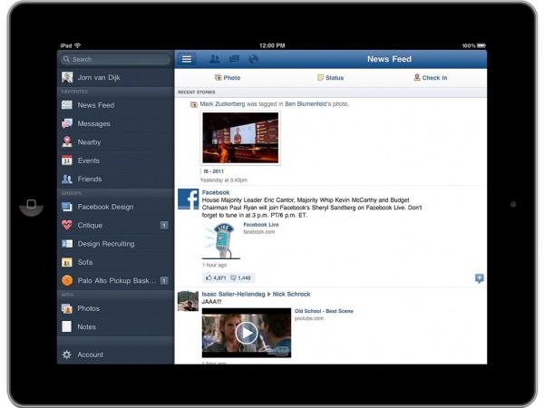 Facebook випустив офіційний додаток для iPad