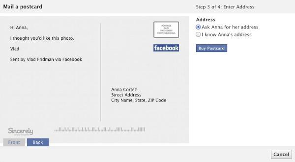 Facebook дозволить надсилати фото у вигляді листівки