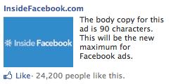 Facebook зменшує розмір зображення та кількість символів у рекламі