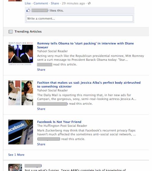 Facebook тестує «trending articles» у стрічці новин