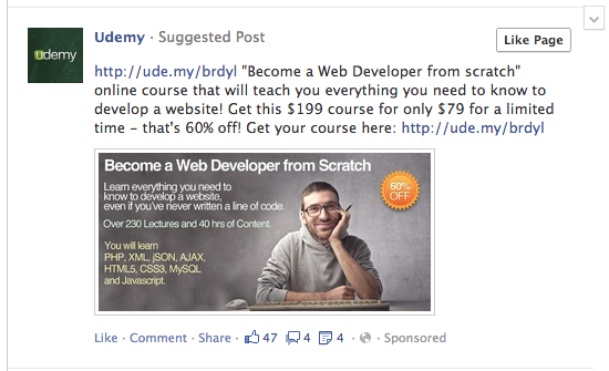 Facebook тестує несоціальні рекламні повідомлення «suggested post»