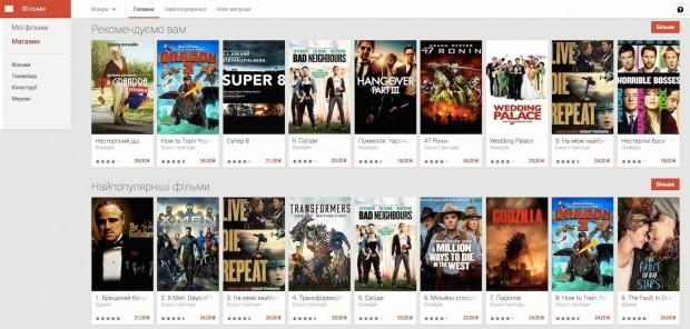 Google Play офіційно запустив можливість купівлі або оренди фільмів в Україні