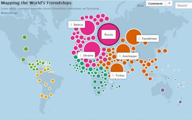 Facebook представила інтерактивну карту «Дружба в світі»