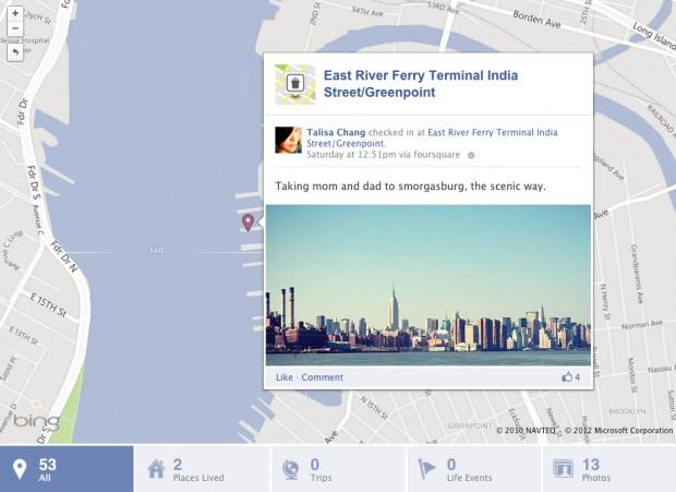 Чекіни з Foursquare будуть відображатись на карті у Facebook Timeline