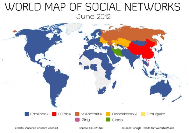 Карта соціальних мереж світу   2012