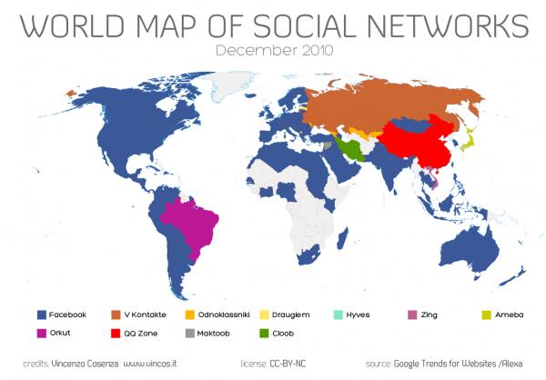 Світова карта соціальних мереж: Facebook посилює експансію