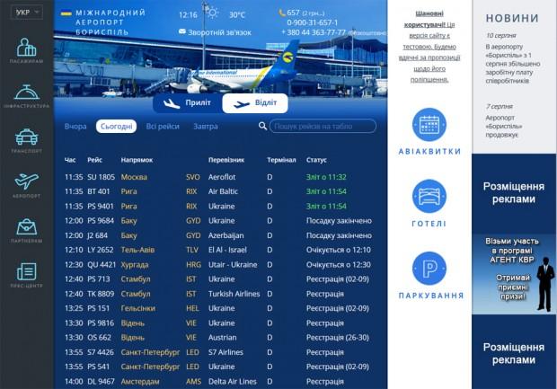 Аеропорт Бориспіль відмовиться від дизайну Студії Лєбєдєва на своєму сайті