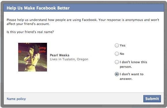 Facebook перевіряє реальність імен друзів