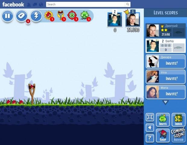 Angry Birds тепер можна грати на Facebook