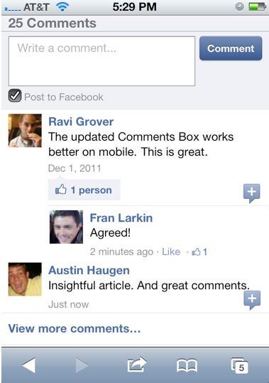 Facebook запустив мобільну версію системи коментування для сайтів