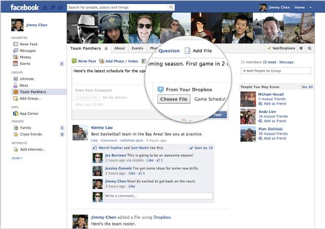 Користувачі Facebook можуть ділитися файлами з Dropbox