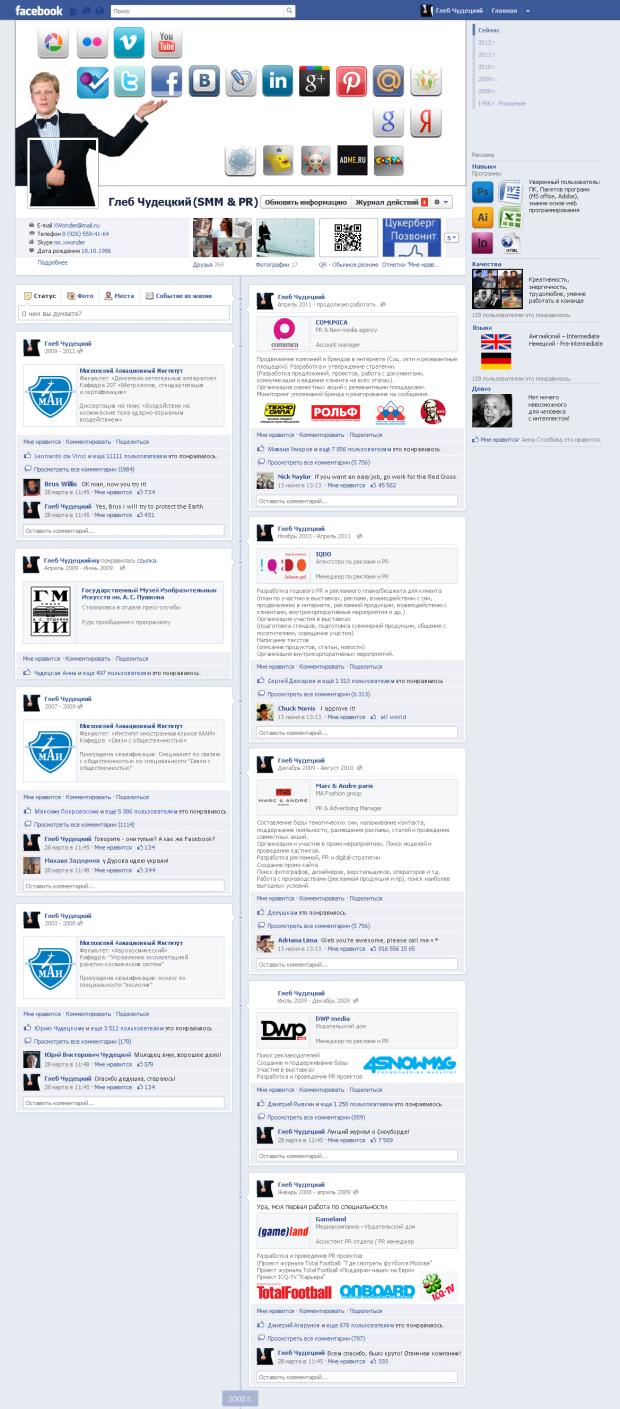 Резюме в стилі Facebook Timeline