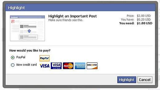 Facebook братиме гроші за просування статусів серед друзів