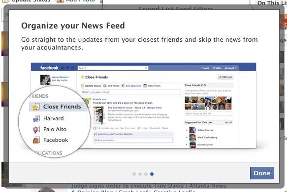Facebook сортуватиме друзів за списками