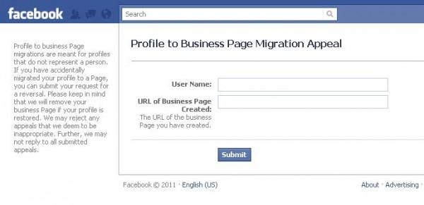 Як скасувати конвертацію Facebook профіля у сторінку