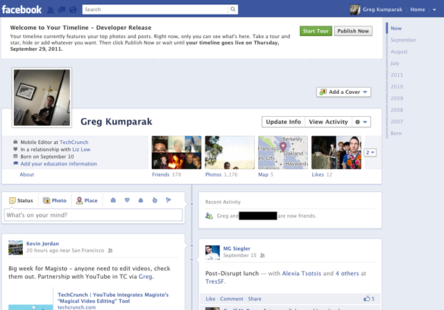 Інтерфейс Facebook Timeline почали відкривати для всіх користувачів