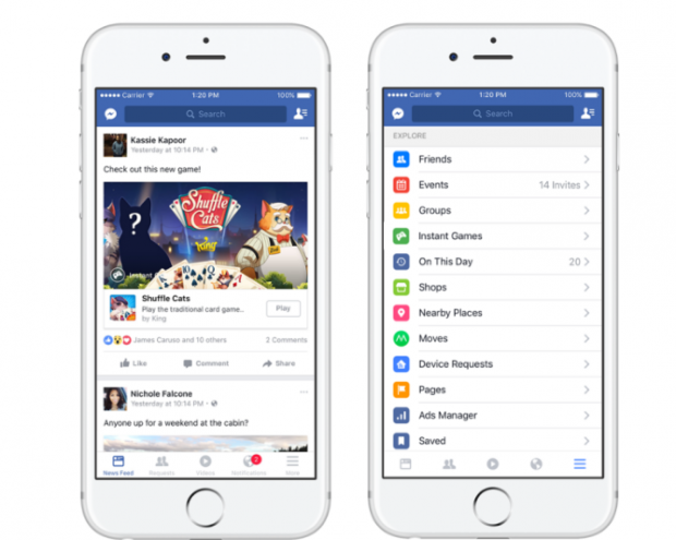 Facebook додав ігри у стрічку новин та Messenger
