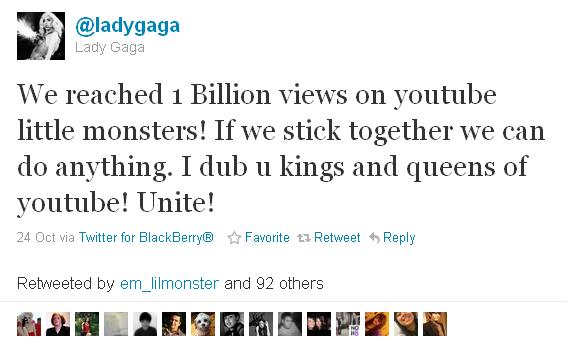 Леді Ґаґа отримала мільярд переглядів відео на Youtube