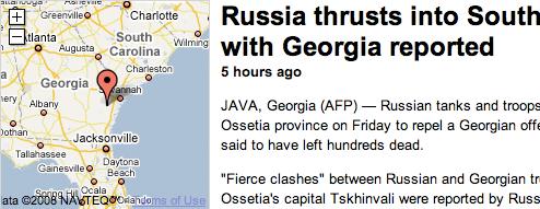 Googlemaps: Росія напала на США
