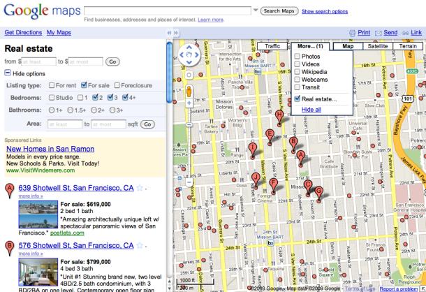 Google Maps закриває каталог нерухомості