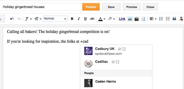 На Blogger тепер можна згадувати користувачів Google+
