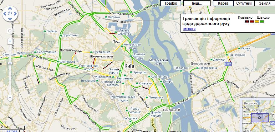 Google почав показувати затори на дорогах Києва