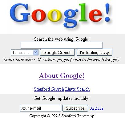 10 років Google. А пам'ятаєте, як він виглядав в 1997 1998 роках?