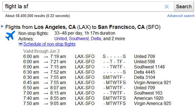 Google показуватиме розклад авіарейсів у результатах пошуку