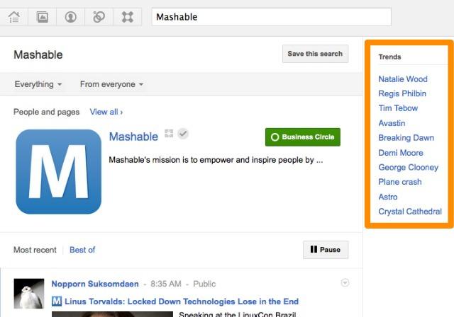Google+ запустив Тренди і покращив пошук