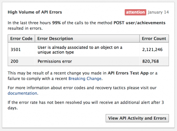 Facebook сповіщатиме розробників додатків про  API помилки