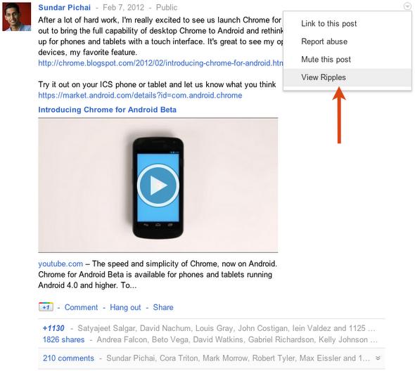 Google+ візуалізує розповсюдження лінків