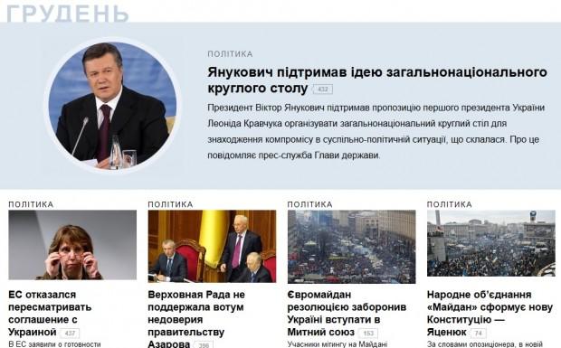 Яндекс вирішив, що подією грудня в українських новинах був круглий стіл Януковича