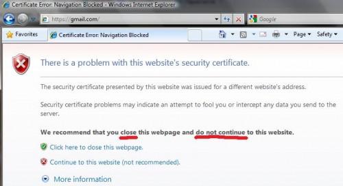 Internet Explorer радить не користуватись поштою Gmail
