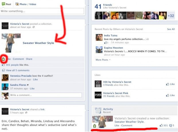 Як виглядають тестові кнопки Want та Collect у Facebook