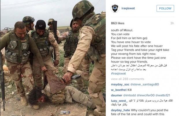 В Інстаграмі іракських військових користувачі голосуванням вирішують вбивати чи ні захоплених бойовиків ІДІЛ