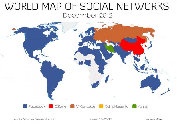 Україна серед 10 країн, де Facebook не є соцмережею №1