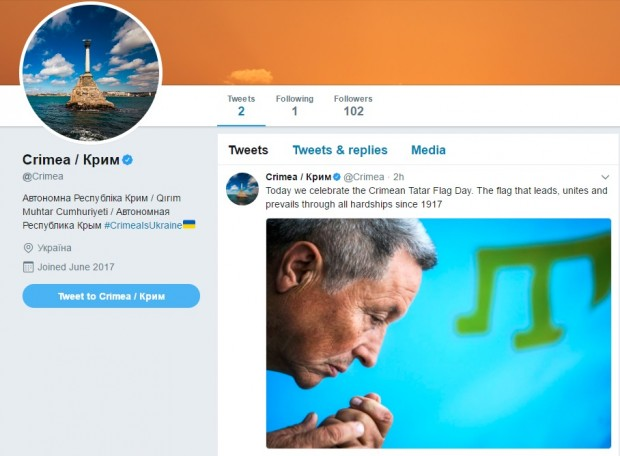 До Дня кримськотатарського прапору Twitter верифікував офіційний екаунт Криму