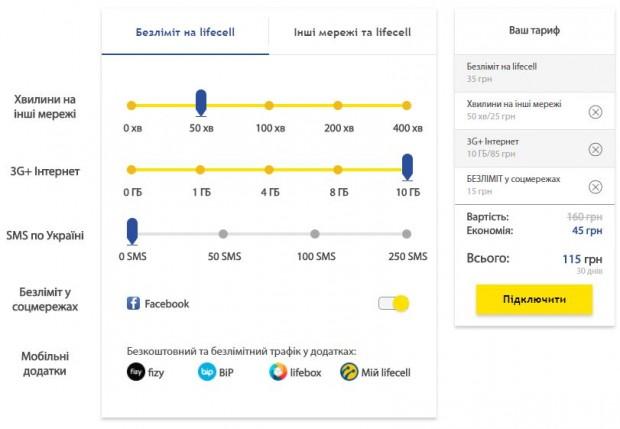 Lifecell запустив конструктор тарифів – користувачі тепер самі обирають, за які сервіси платити