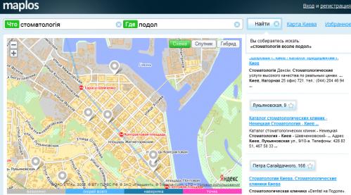 Maplos.com шукає в Google, а показує на картах Яндекса