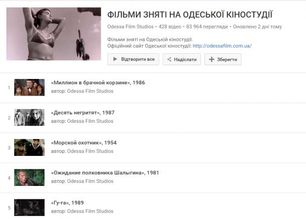 Одеська кіностудія виклала понад 400 класичних фільмів у відкритий доступ